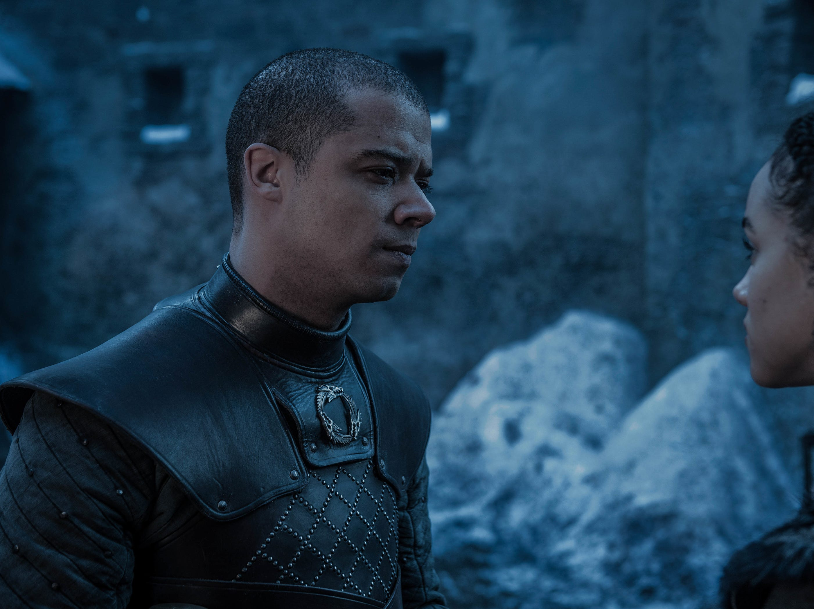 Jacob Anderson as Grey Worm, left, and Nathalie Emmanuel as Missandei on 'Game of Thrones.'