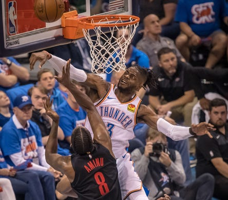 April 21: Thunder defender Nerlens Noel (3) blocks a shot attempt by Trail Blazers forward Al-Farouq Aminu (8) during Game 4 in Oklahoma City.