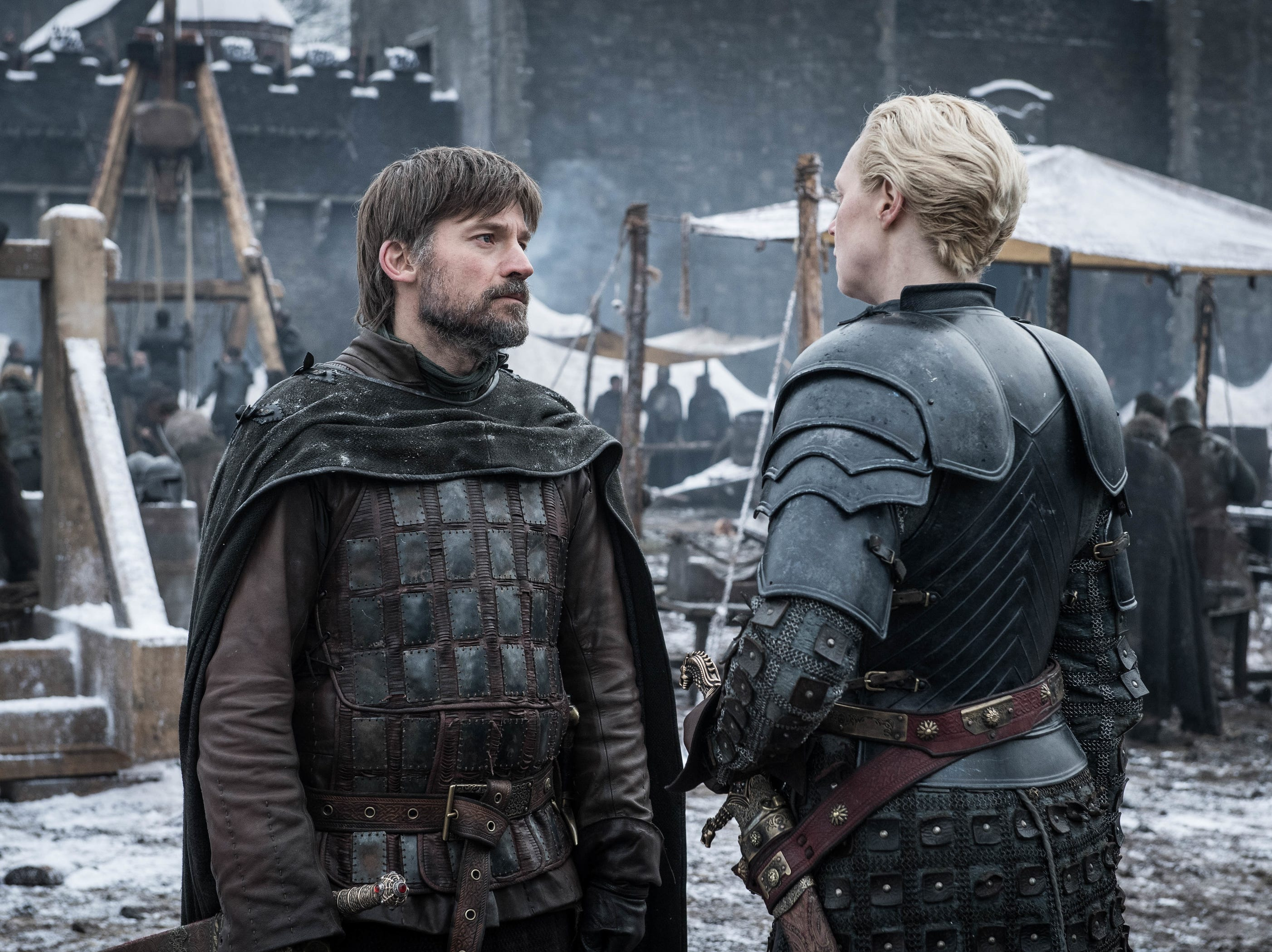 Nikolaj Coster-Waldau as Jaime Lannister, left, and Gwendoline Christie as Brienne of Tarth on 'Game of Thrones.'