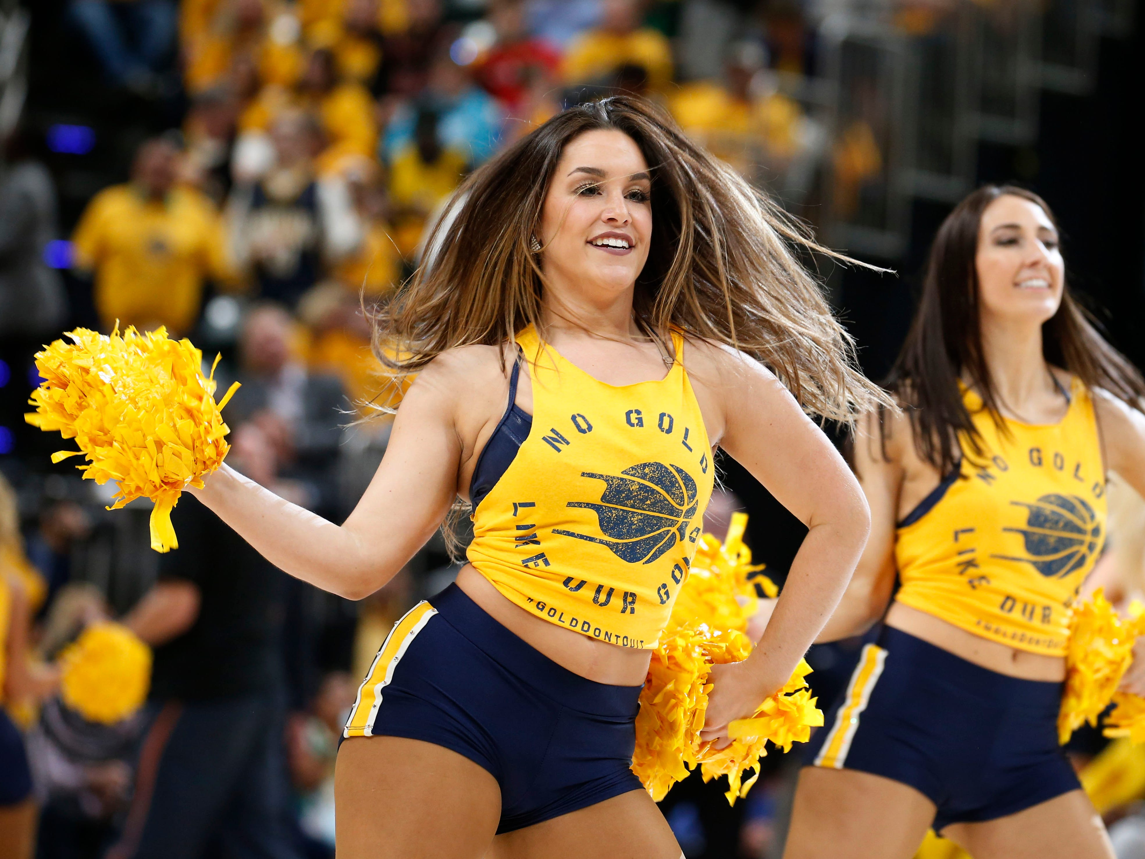 April 21: Pacers dancers perform during Game 4 against Boston.