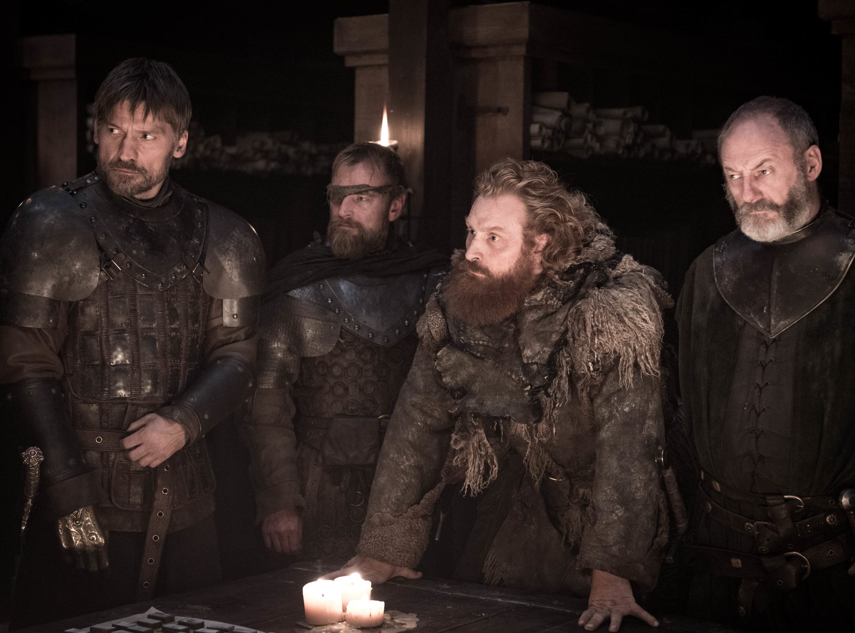 Nikolaj Coster-Waldau as Jaime Lannister, left, Richard Dormer as Beric Dondarrion, Kristofer Hivju as Tormund and Liam Cunningham as Davos Seaworth on 'Game of Thrones.'