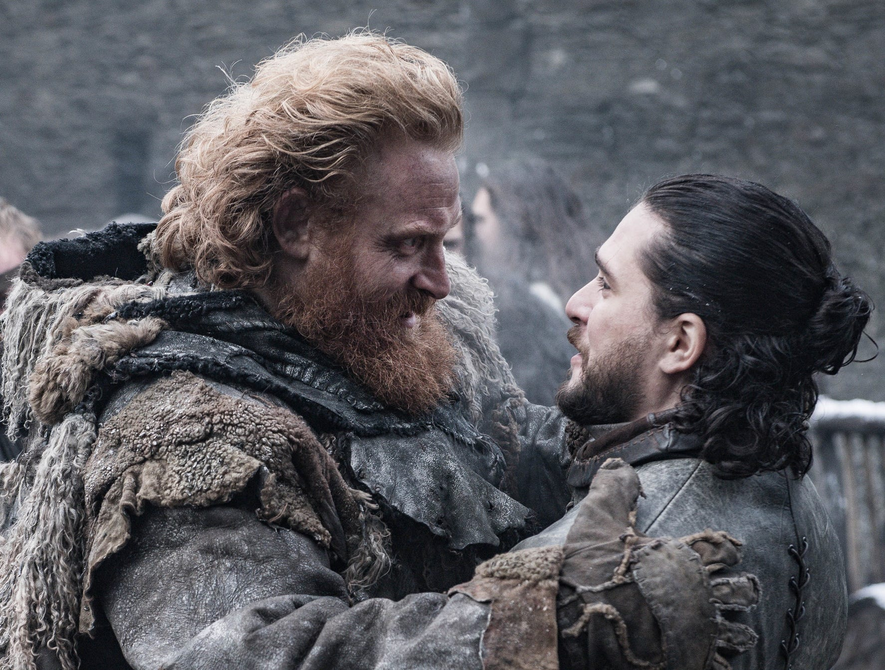 Kristofer Hivju as Tormund, left, and Kit Harington as Jon Snow on 'Game of Thrones.'