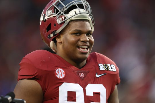 Alabama Crimson Tide defensive tackle Quinnen Williams (92) smiles prior to the game against the Clemson Tigers during the 2019 College Football Playoff Championship game at Levi's Stadium.