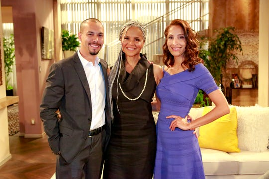 """St. John's former colleagues Bryton James, left, Victoria Rowell and Christel Khalil paid tribute in a special episode of """"The Young and the Restless."""""""