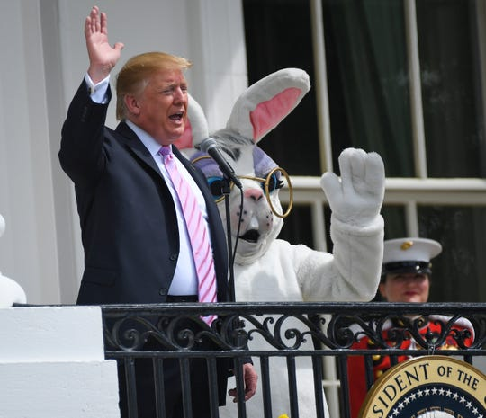 President Donald Trump and the Easter Bunny at Monday's White House Easter Egg Roll.