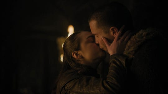 "Maisie Williams as Arya and Joe Dempsie as Gendry on ""Game of Thrones."""