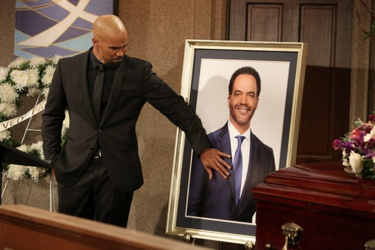 "Malcolm Winters (Shemar Moore) remembers his friend (Kristoff St. John) is a scene from ""The Young and the Restless."""