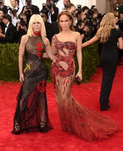 """Donatella Versace and Jennifer Lopez attend the """"China: Through the Looking Glass"""" Costume Institute Benefit Gala at the Metropolitan Museum of Art on May 4, 2015, in New York City."""