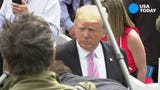 """President Donald Trump said he was """"not even a little bit"""" worried about facing impeachment while at the White House annual Easter Egg Roll event."""