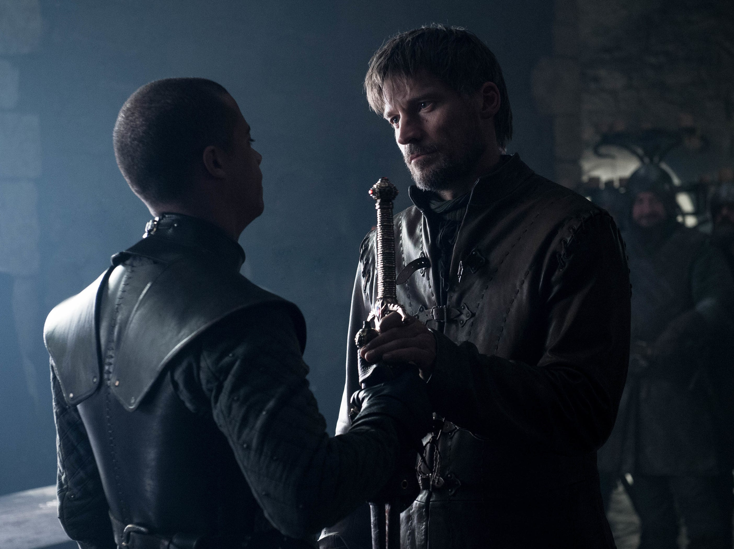Jacob Anderson as Grey Worm, left, and Nikolaj Coster-Waldau as Jaime Lannister in 'Game of Thrones.'