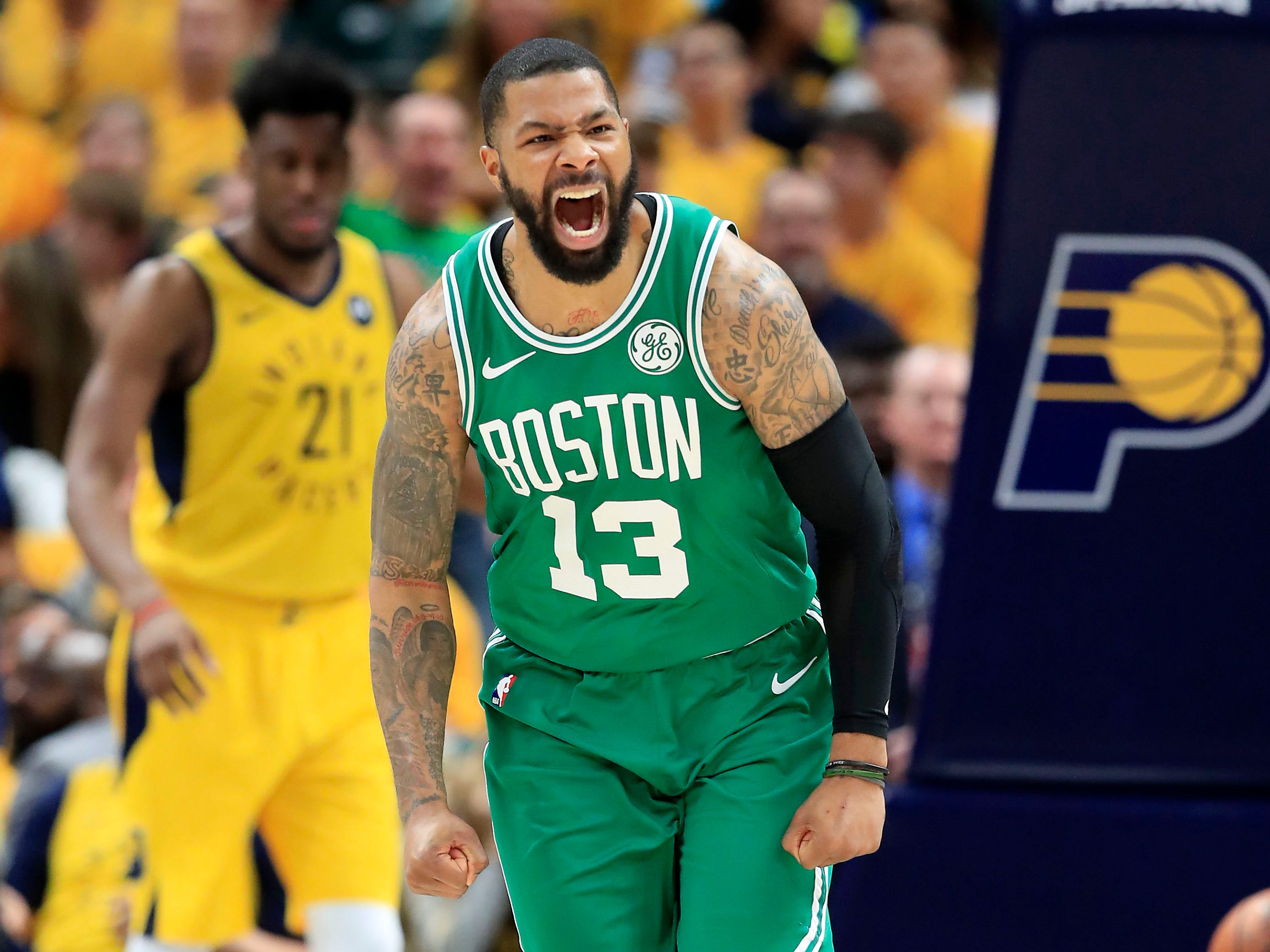 April 21: Marcus Morris celebrates during Game 4 against the Pacers.