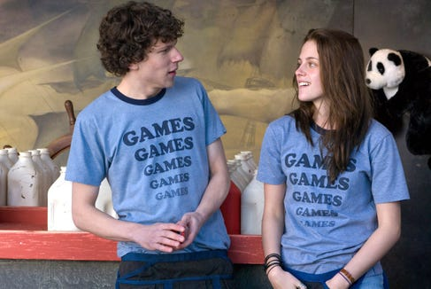 "Jesse Eisenberg and Kristen Stewart star as co-workers at a rundown Pennsylvania amusement park in ""Adventureland."""