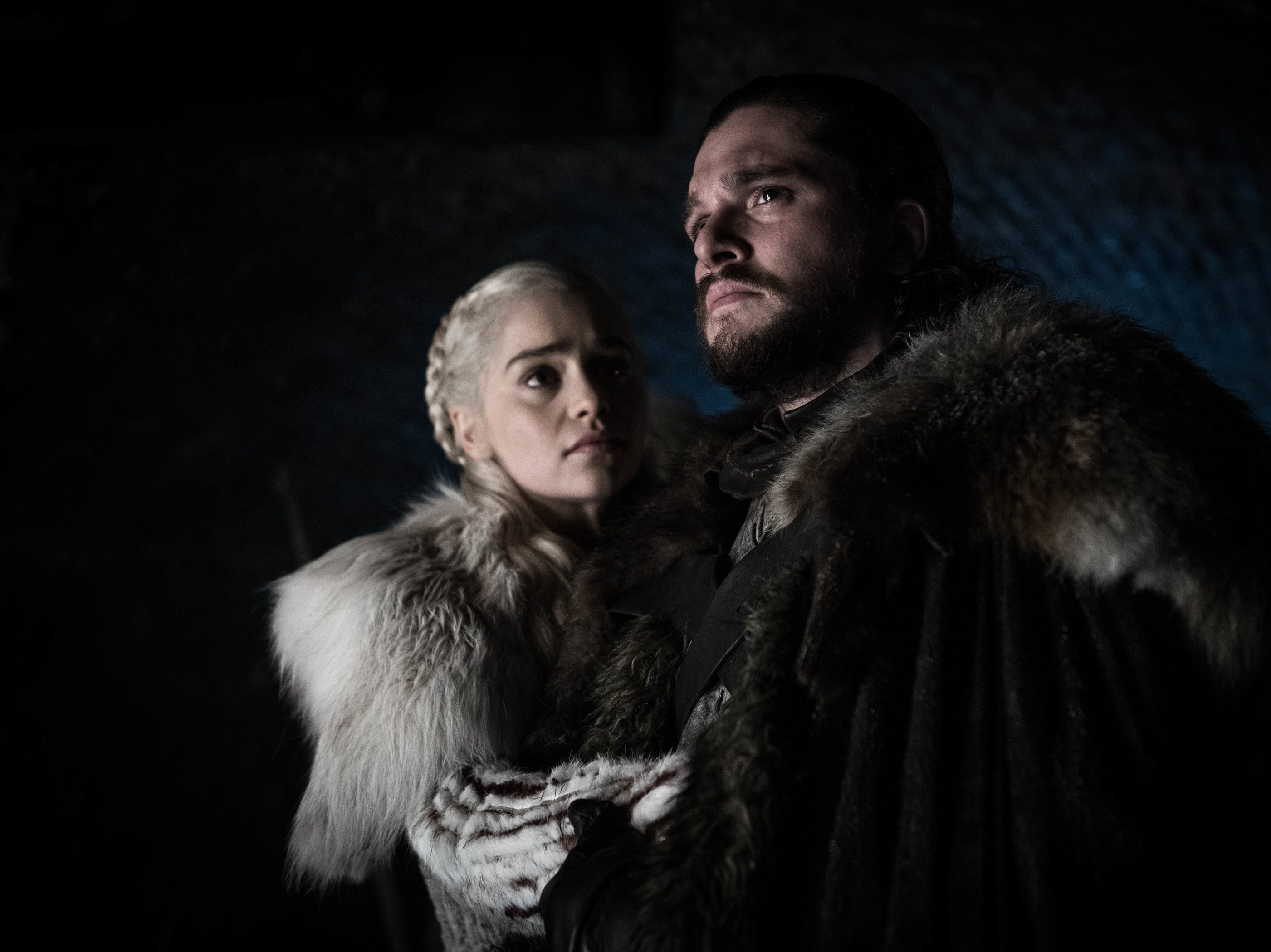Emilia Clarke as Daenerys Targaryen, left, and Kit Harington as Jon Snow in 'Game of Thrones.'