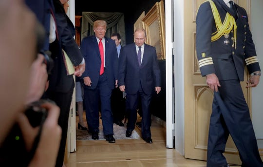 Presidents Donald Trump and Vladimir Putin in Helsinki, Finland, on July 16, 2018.
