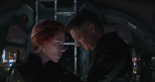 """Black Widow (Scarlett Johansson) and Hawkeye (Jeremy Renner) must face an all-powerful Thanos in """"Avengers: Endgame."""""""