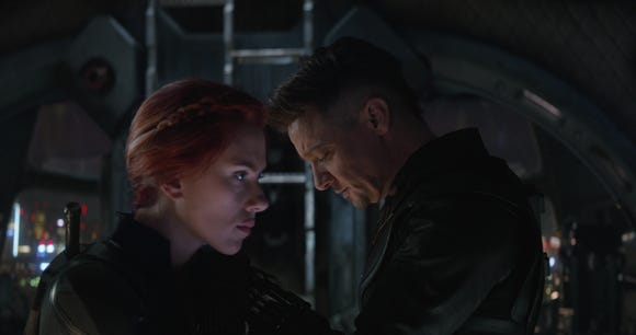 "Old friends and teammates Black Widow (Scarlett Johansson) and Hawkeye (Jeremy Renner) reunite in ""Avengers: Endgame."""