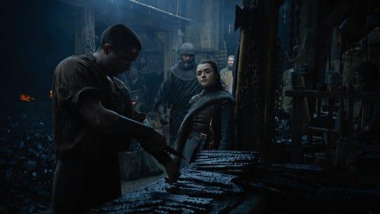 Joe Dempsie as Gendry, left and Maisie Williams as Arya Stark in 'Game of Thrones.'