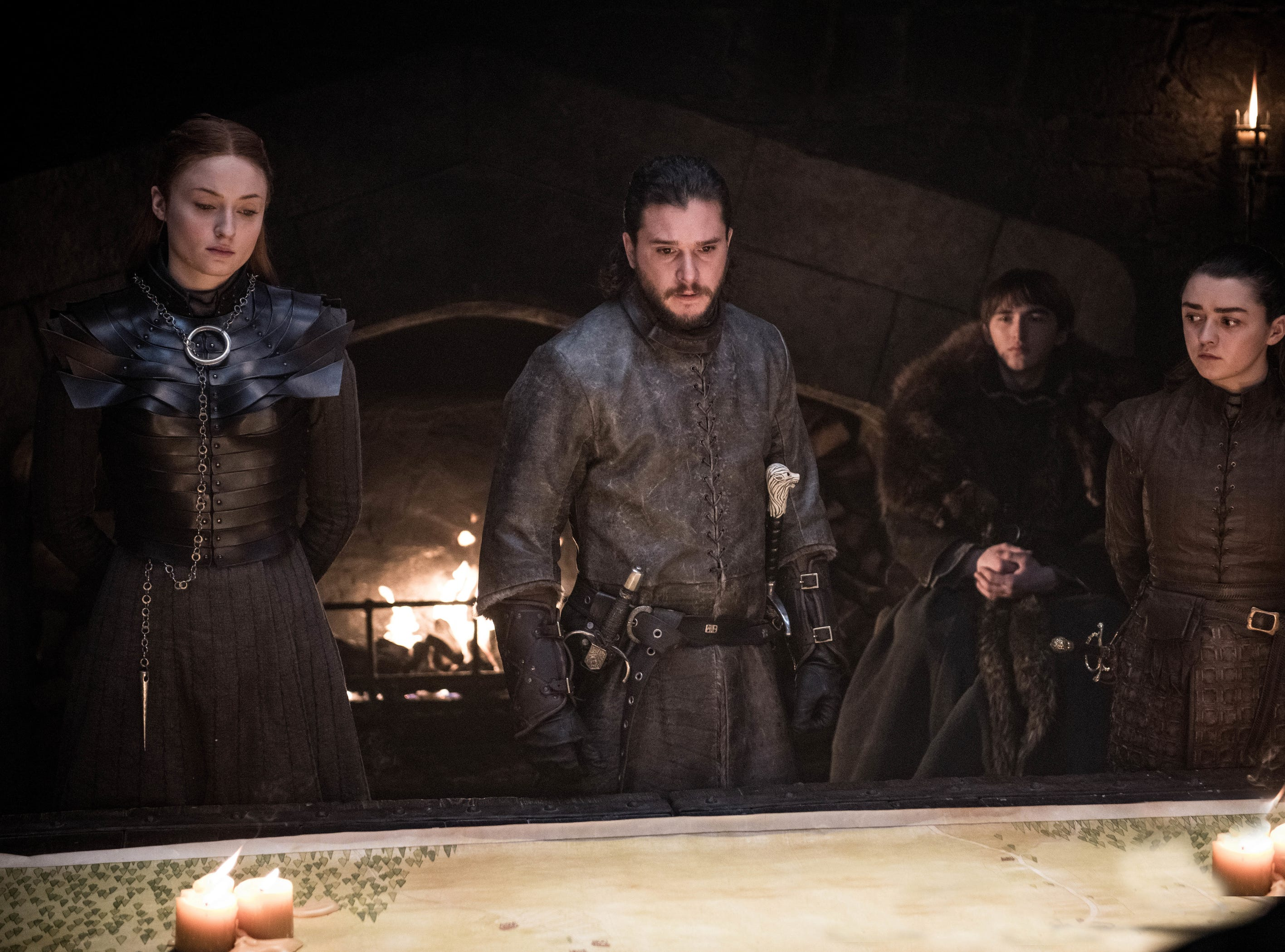 Stark family portrait: Sophie Turner as Sansa, left, Kit Harington as Jon Snow, Isaac Hempstead Wright as Bran and Maisie Williams as Arya on 'Game of Thrones.'