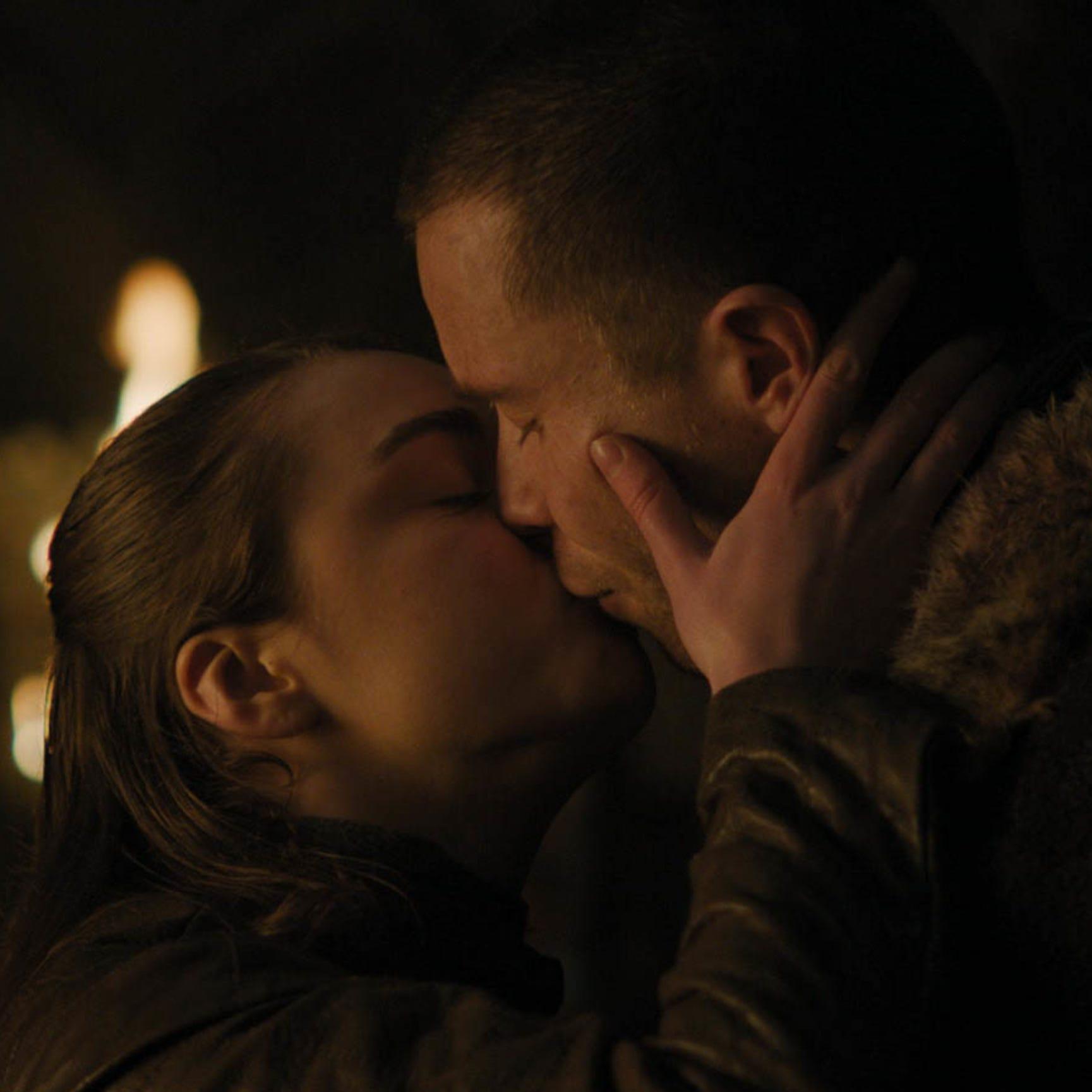 Maisie Williams as Arya Stark, left, and Joe Dempsie as Gendry on 'Game of Thrones.'