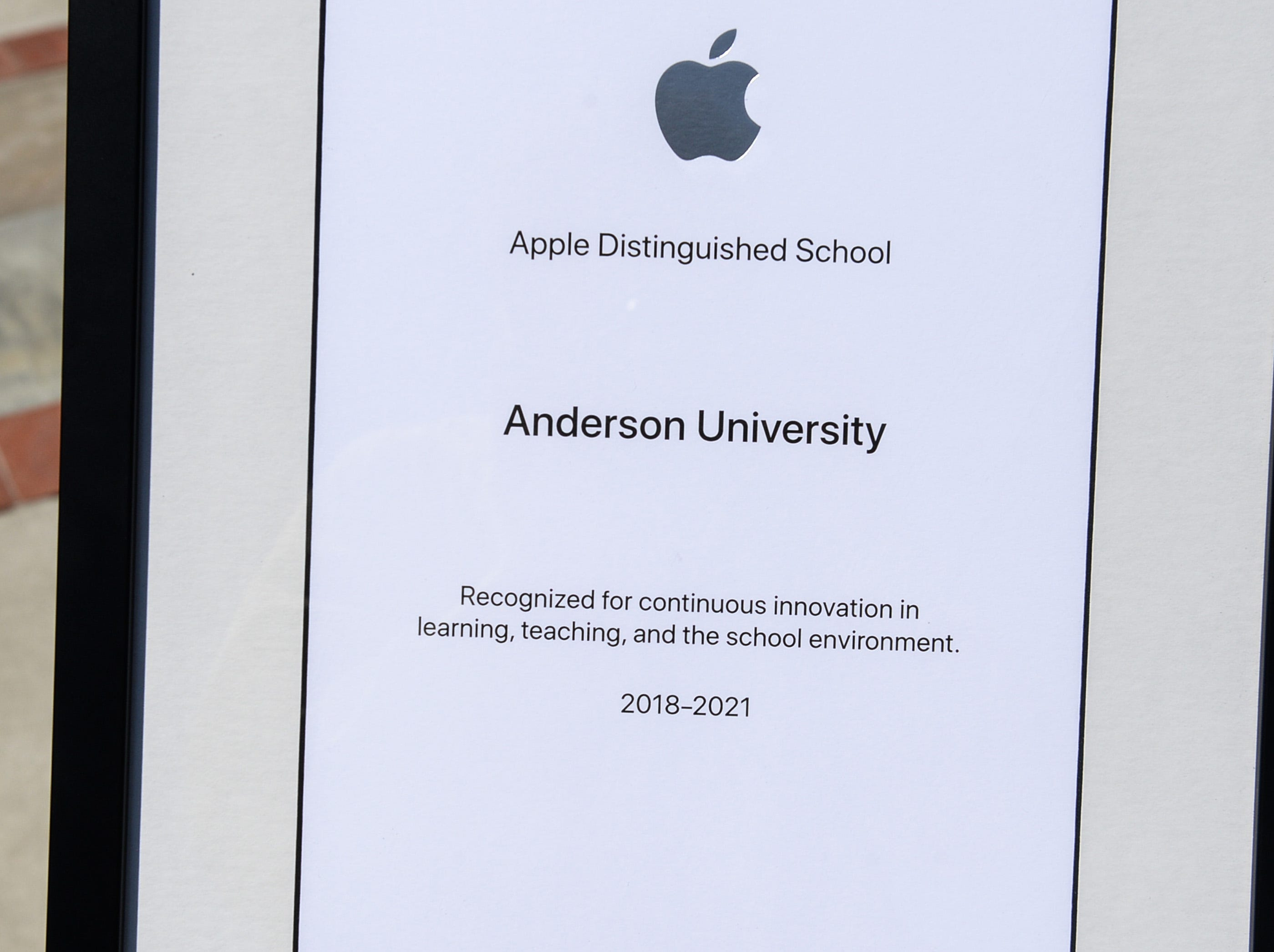 Apple Distinguished School award at Anderson University in Anderson Tuesday. It was the third time receiving the distinction since the school started a digital learning initiative in 2011.