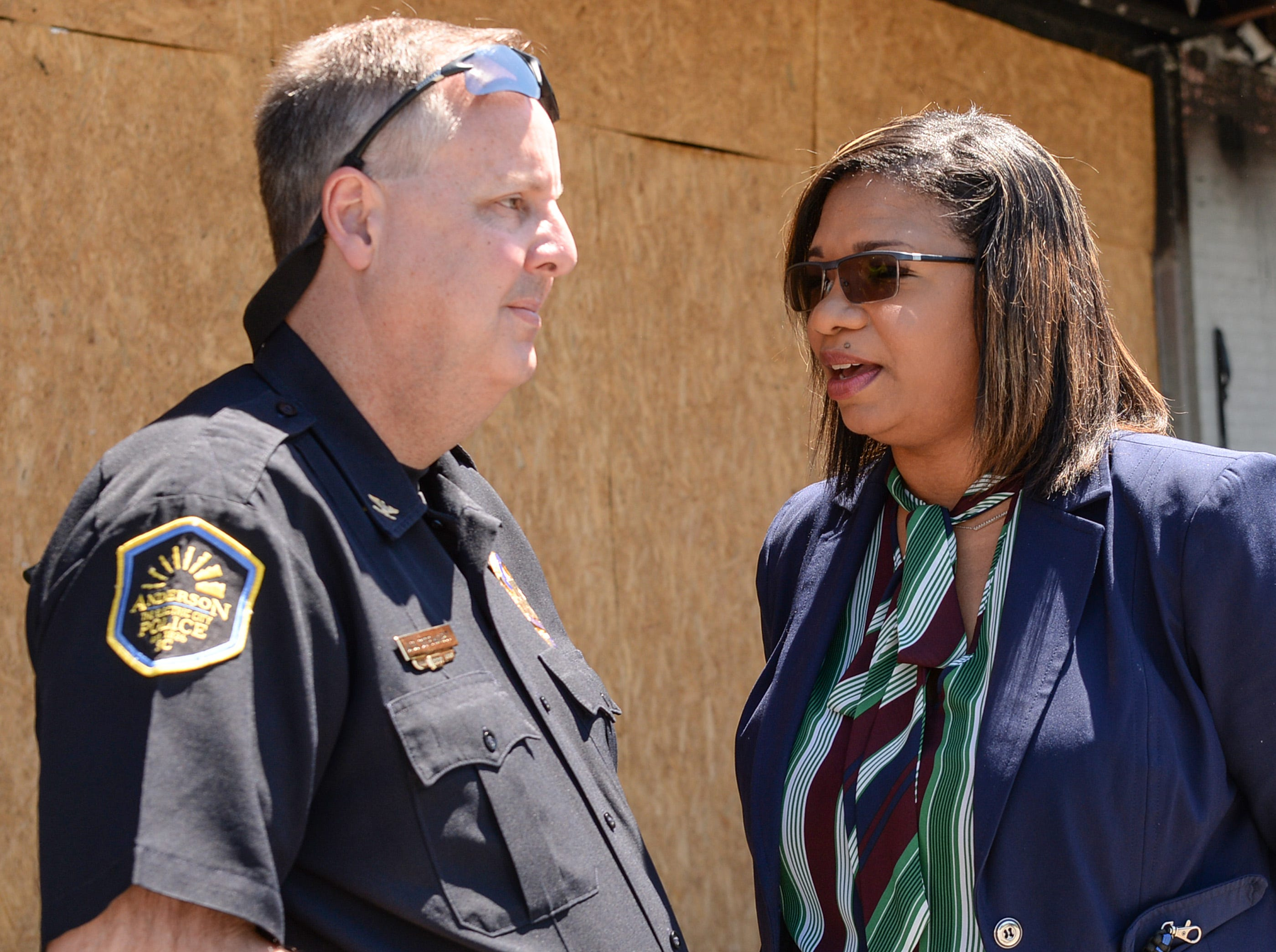 Chief of Police Jim Stewart, left, and Lt. Carla Roberson speak after a press conference concerning a cold case homicide of Randy Smith. Smith died in a drive-by shooting in 2016 and Anderson Area Crime Stoppers held the press conference asking for the public to come forward with any tips.