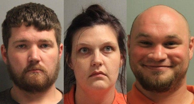 (From left) Christopher Dean Perkins, Nicole Lee Hayes and John Jacob Wooley