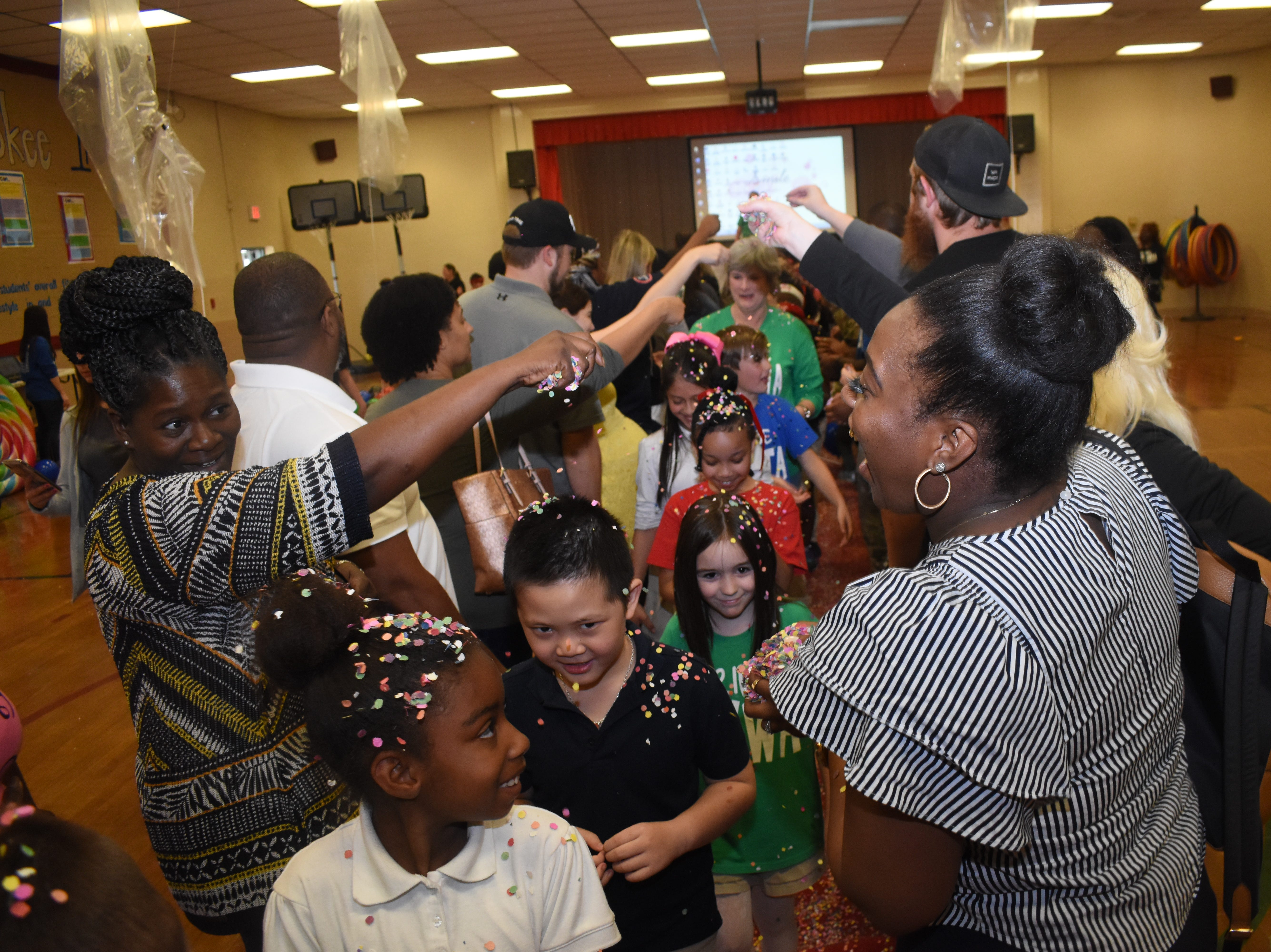 """Cherokee Elementary School faculty and staff held a Test Pep Rally Monday, April 22, 2019 for their third, fourth and fifth grade students who will be taking the annual LEAP Test. Fifth-graders will take the LEAP test Tuesday, April 23, 2019 and third and fourth-graders will take the test next week.""""The purpose of this test prep rally is to motivate our students to do their very best on the upcoming LEAP test,"""" said Laurie Bolden, third grade teacher. """"We have been preparing for this test all year.""""At the rally students sang songs and performed skits. The Peabody Magnet High School Drumline were guest performers at the rally. Teachers and staff held a dance flash mob. Parents at the rally wrote words of encouragement to their children and other school students. Students were treated to a red carpet treatment where parents tossed confetti on them as they made their way down the red carpet."""