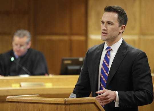 Assistant District Attorney Patrick Leigl speaks to the jury during the first day of a trial for Jason LaVigne in Outagamie County on Tuesday. LaVigne is a former Little Chute High School teacher accused of sexually assaulting a 14-year-old student nearly two decades ago.