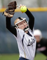 Appleton North's Bailee Fritz pitches against Hortonville during a Fox Valley Association softball game Monday in Appleton.