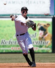 The Timber Rattlers' Brice Turang throws during a game against the Cedar Rapids Kernels on April 23 at Fox Cites Stadium in Grand Chute.