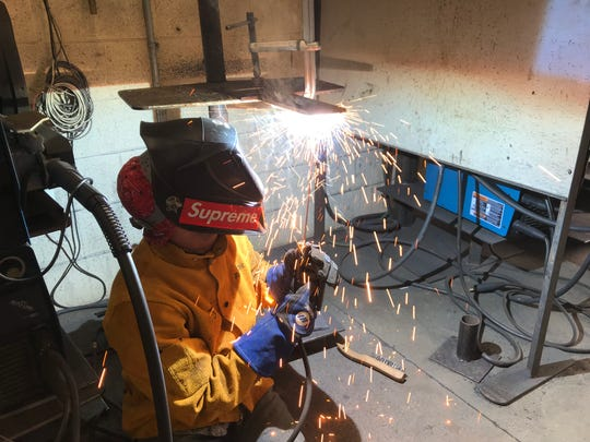 Jayden Wilcox, a senior at Abilene High, practices welding Feb. 22 in his Cisco College class that he was taking thanks to a joint program offering trades education to Abilene ISD students. The program, NextUniversity, puts students in the college classrooms at TSTC and Cisco colleges.