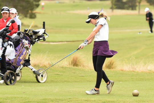 Wylie's Brylee Valentine hits a tee shot during the second round of the Region I-5A tournament at The Rawls Course in Lubbock on Tuesday, April 23, 2019. Valentine shot a two-round 167 to tie for 30th.