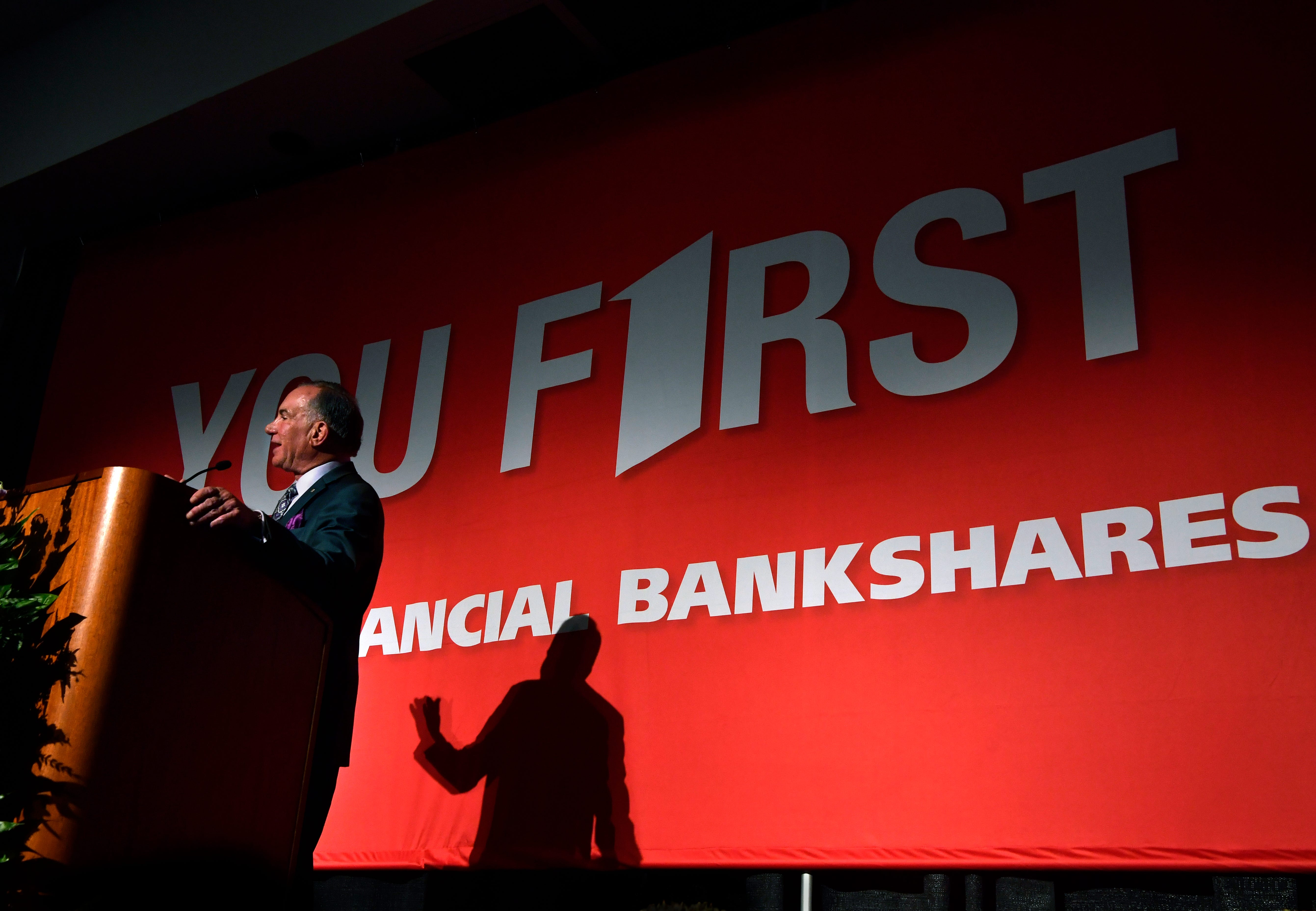 Scott Dueser announces the two-for-one stock split at the annual First Financial Bankshares annual shareholder meeting at the Abilene Convention Center. The split will be effective for shareholders of record May 15. Dueser is the bank's chairman, president and chief Executive Officer.