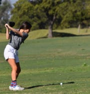 Clyde junior Taylor Ancheta gets ready to tee off.
