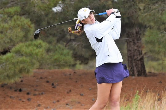 Wylie's Maddi Olson tees off during the second round of the Region I-5A tournament at The Rawls Course in Lubbock on Tuesday. Olson, who tied for 10th, and the Lady Bulldogs finished third to qualify for Class 5A state.