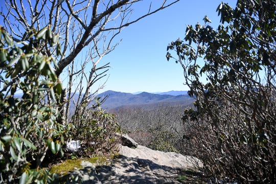 A view from the Craggy Pinnacle trail on the Blue Ridge Parkway on April 22, 2019.
