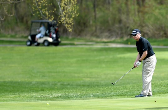 Paul Wolfgramm, of Vestal, golfs at The Links at Hiawatha Landing in Apalachin on Tuesday, April 23, 2019.
