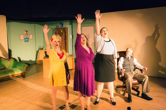 Doralee (Sarah O'Connell, from left), Violet (Laura Lingle) and Judy (Angela McDermott) celebrate turning the tables on their sexist boss, Hart (Stan Lingle).
