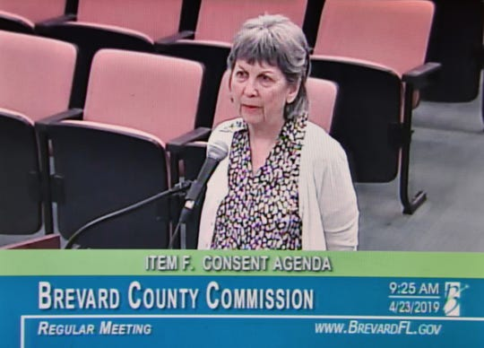 Cocoa resident Judy McCluney spoke in favor of a proposed ordinance amendment that would require Brevard County retailers that sell fertilizer to post signs detailing county restrictions on its use.