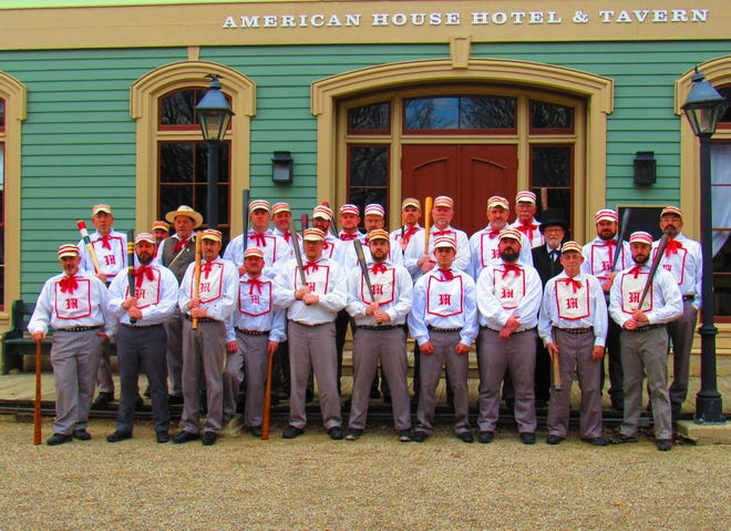 The Ohio Village Muffins vintage baseball team will play a demonstration baseball game with local Crawford Countians Sunday at the Harvey One-Room School.