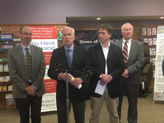 Rep. Peter Welch, D-Vermont, introduces his legislation to protect small, independent pharmacies at an event at Rutland Pharmacy on Monday, April 22. Welch, at the microphone, is flanked by (left to right) Michael Fisher of Vermont Legal Aid; Jeff Hochberg, manager of Rutland Pharmacy; and Kevin Mullin, chair of the Green Mountain Care Board.