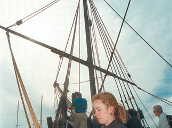 Volunteer Dabney Welsh prepares for the upcoming sailing classes that teach folks how to sail 15th Century ships such as the Nina on January 18, 1998.