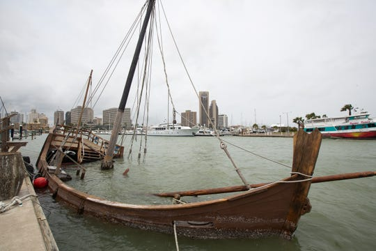 The replica of Columbus' La Nina ship suck at the Corpus Christi Marina over Monday night.