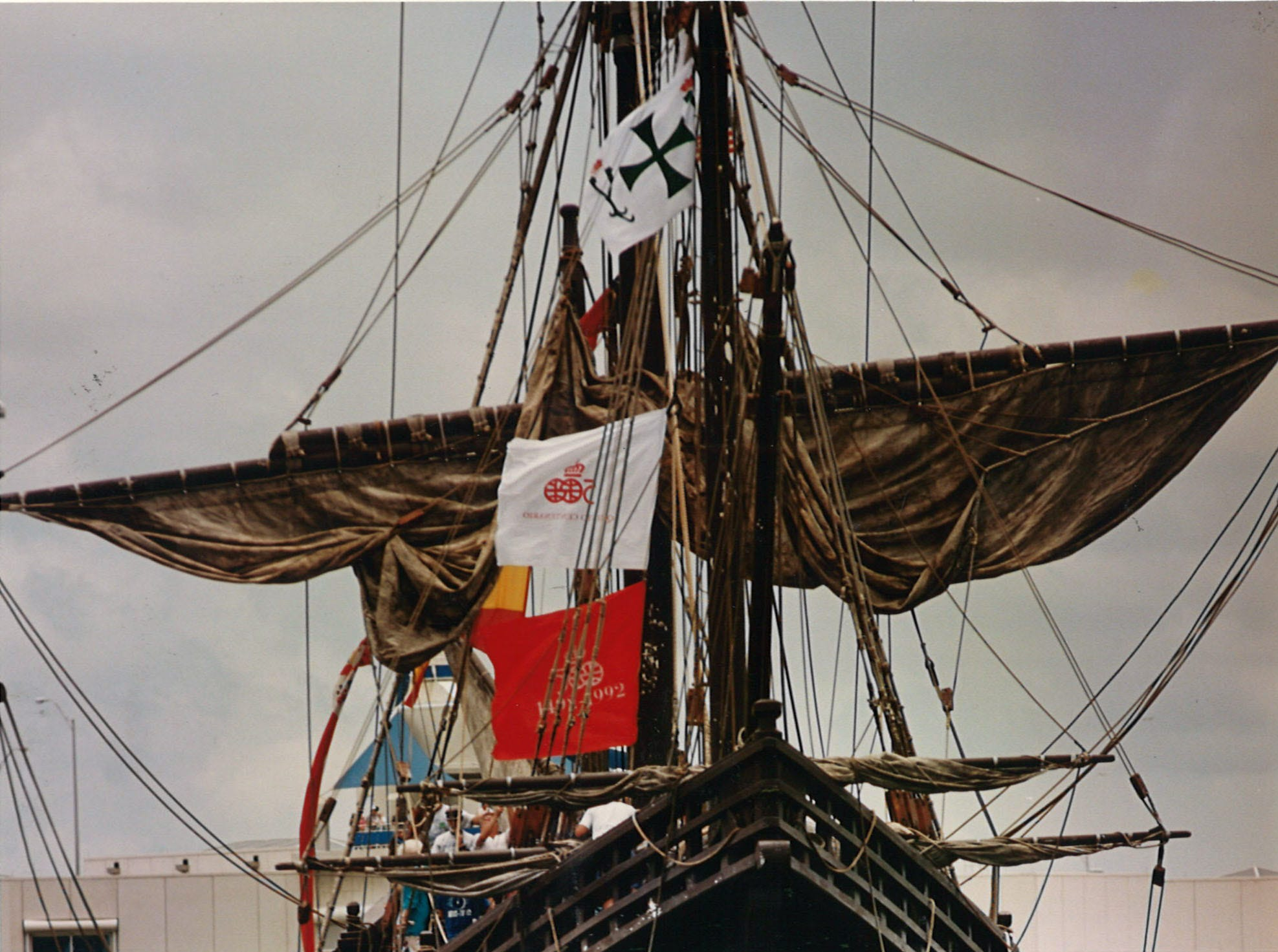 The Santa Maria sits at the Corpus Christi Barge Dock on June 12, 1993 as thousands visit to get a view of the replic Columbus ships.