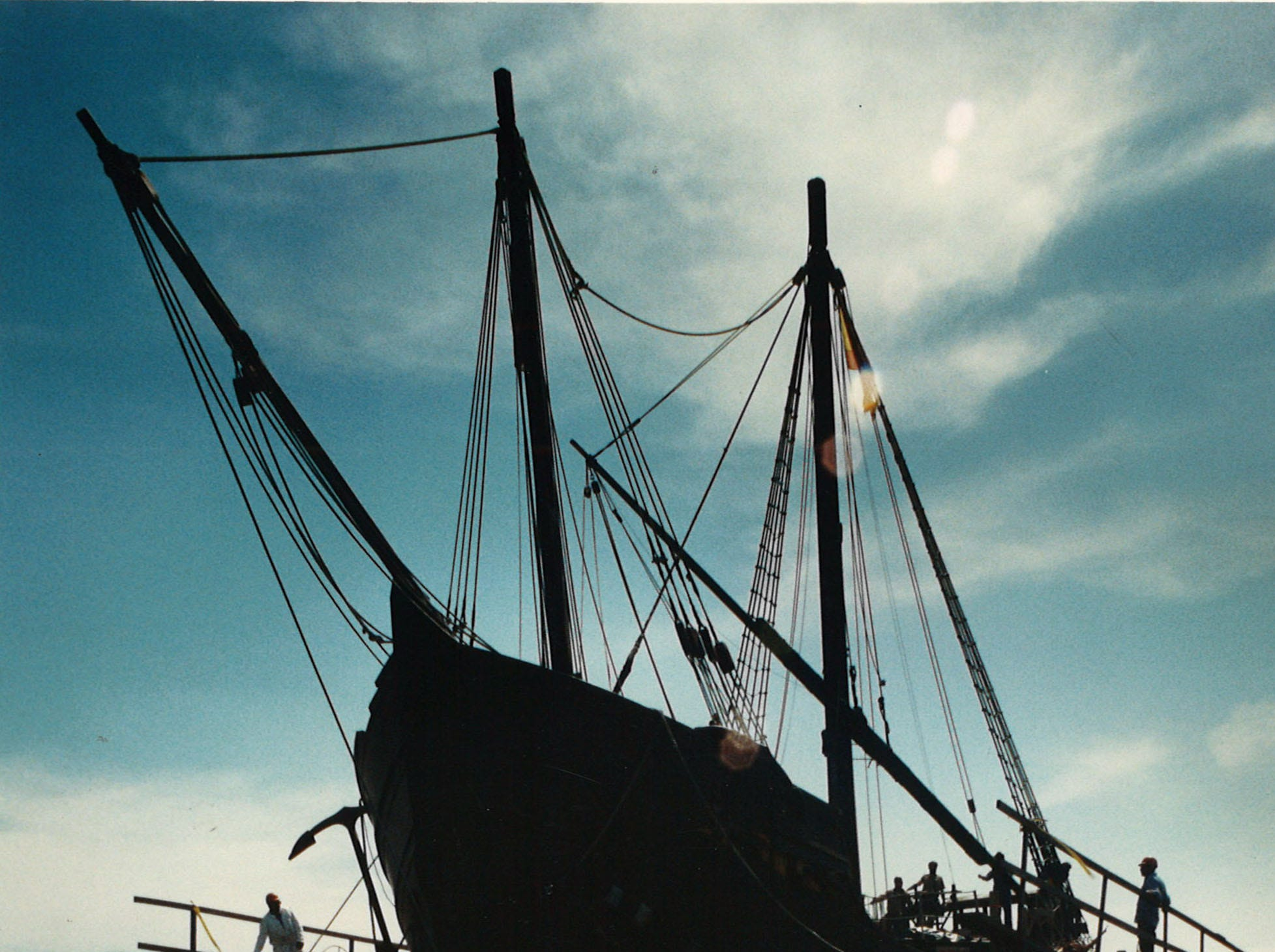 The Pinta, one of the three Columbus ships, prepared to be lifted into dry dock at Gulf King Shipyard in Aransas PAss on April 21, 1994. The ship was damaged by a barge while docked in Corpus Christi's inner harbor.