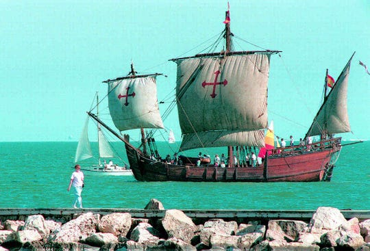 The Nina, one of the three wooden replica ships of the Columbus fleet, sails on a Sunday afternoon in 1995.