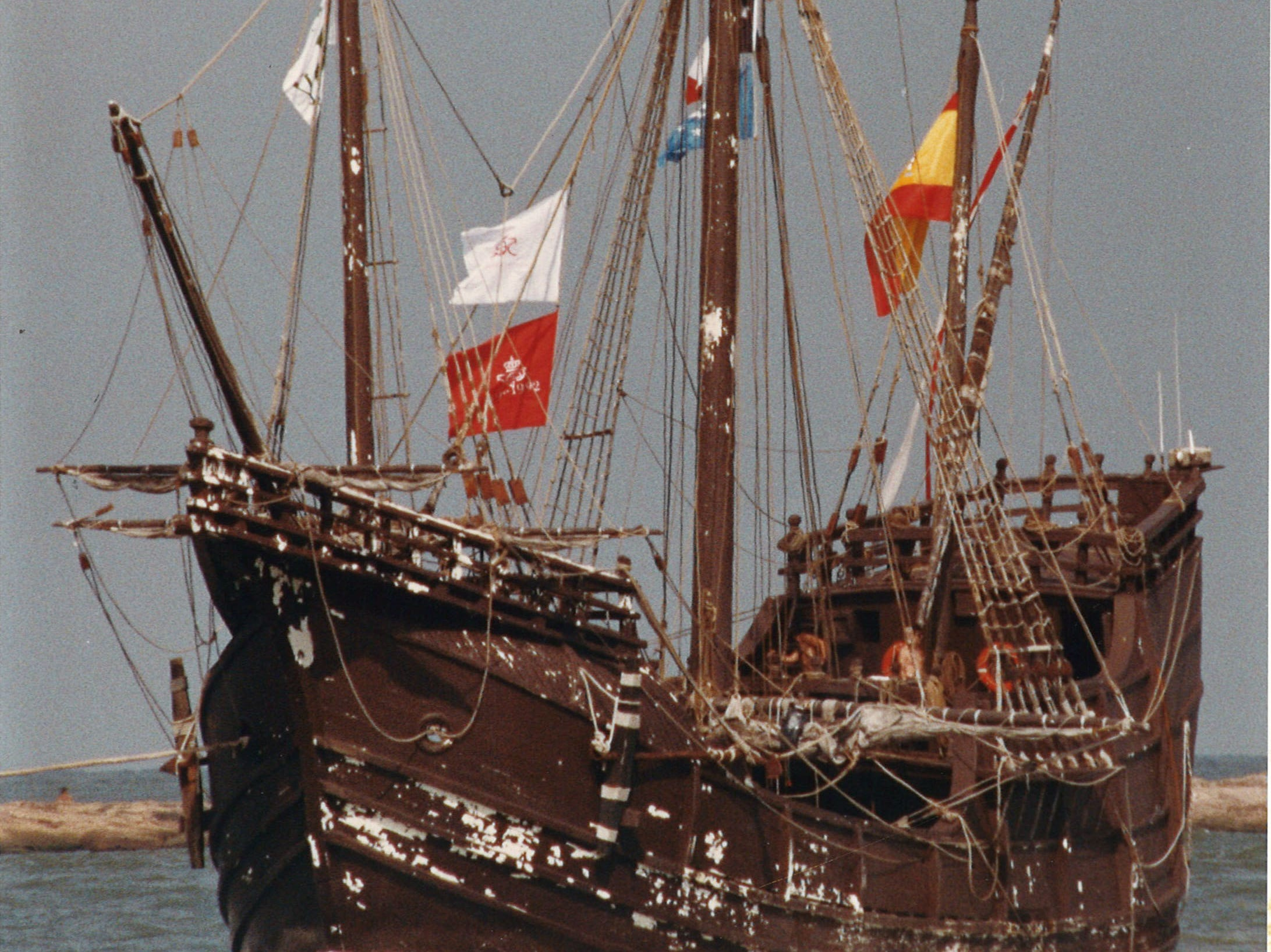 The Santa Maria, one of the three replica Columbus ships, sails in Port Aransas on May 30, 1993. The paint was badly chipped.