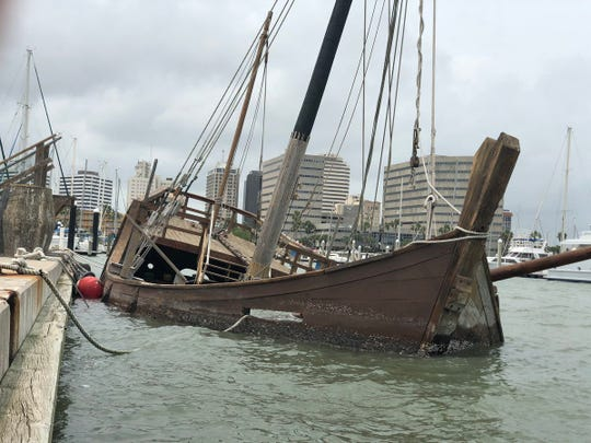 A replica version of Columbus' La Niña ship sunk overnight Monday in Corpus Christi Bay.