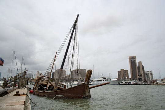 The replica of Columbus' La Niña ship sunk at the Corpus Christi Marina overnight Monday, April 22, 2019.