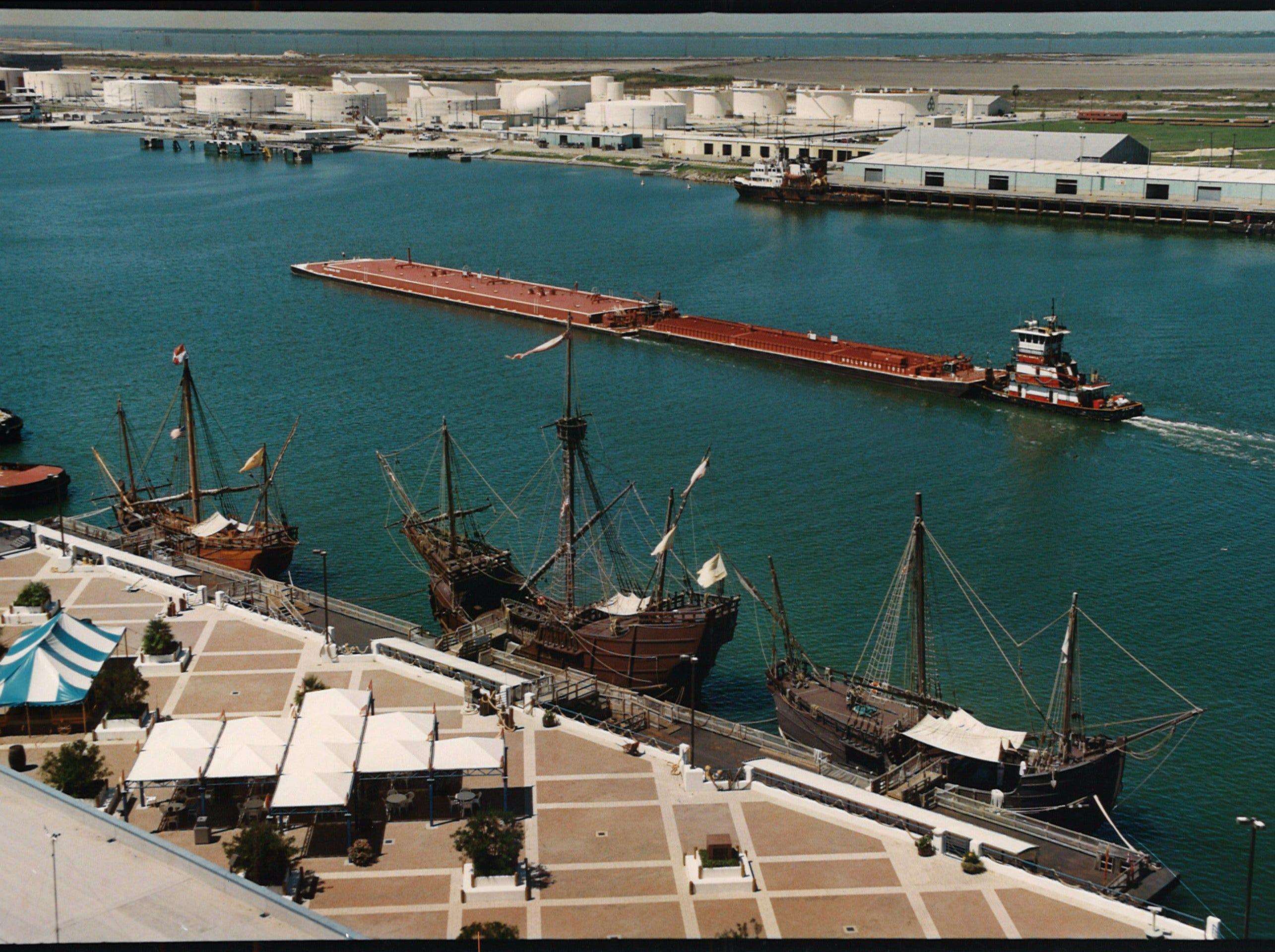 The Columbus fleet moored at Cargo Dock One in Corpus Christi's inner harbor on Sept. 19, 1994.